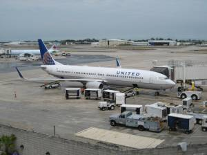 A United Airlines 737 At The Gate